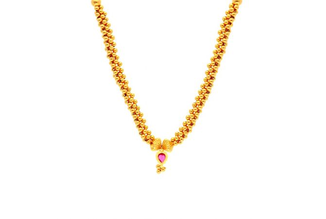 Glossy Finish Pink Stone Studded Embossed Lakshmi Gold Ball Thushi Necklace -TH268