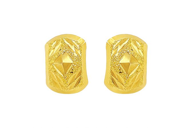 Elegant Textured Stud Gold Earrings