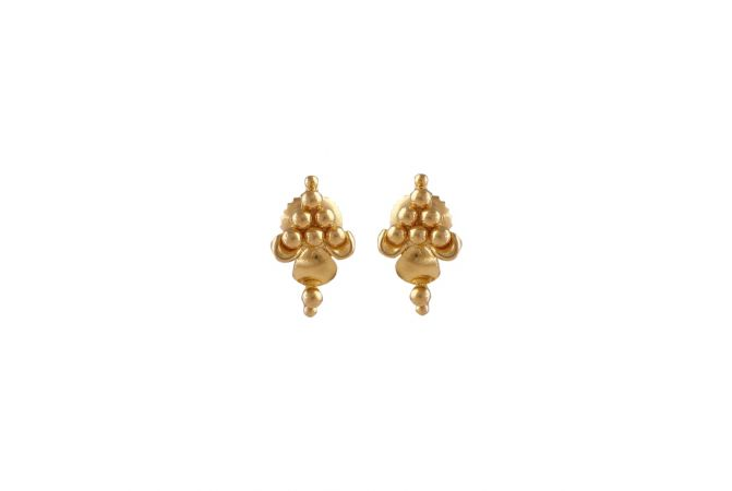 Glossy Finish Grapes Design Gold Earrings-TO157056
