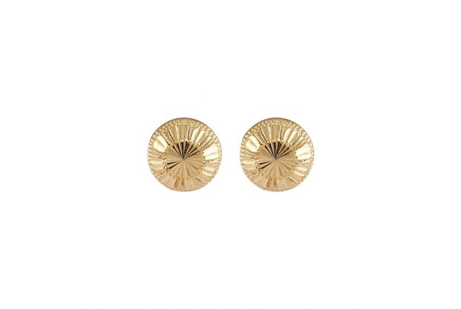 Glossy Finish Diamond Cut Gold Button Earrings-TO211856