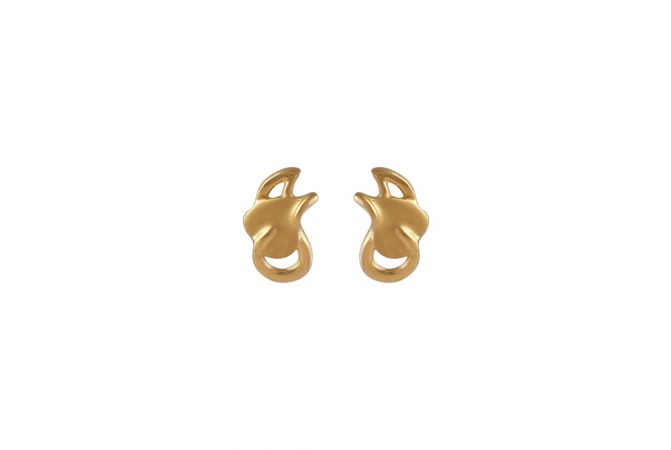 Matte Glossy Finish Curved Leafy DesignGold Earrings-TO216324