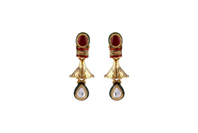 Cabechon Cut Synthetic Ruby With Kundan Drop Gold Jhumki Earrings-TO217189