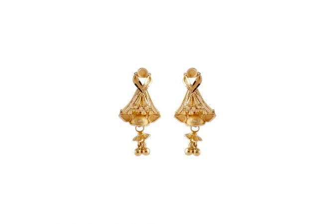 Matte Satin Finish Floral Design Drop Gold Ball Earrings-TO218157