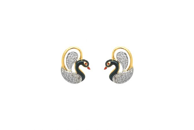 Classic Pave Set Enamel Swan Design Diamond Earring