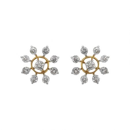 Glittering Prong Set Floral Design Diamond Earrings