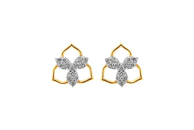 Dazzling Prong Set Leaf Design Diamond Earring