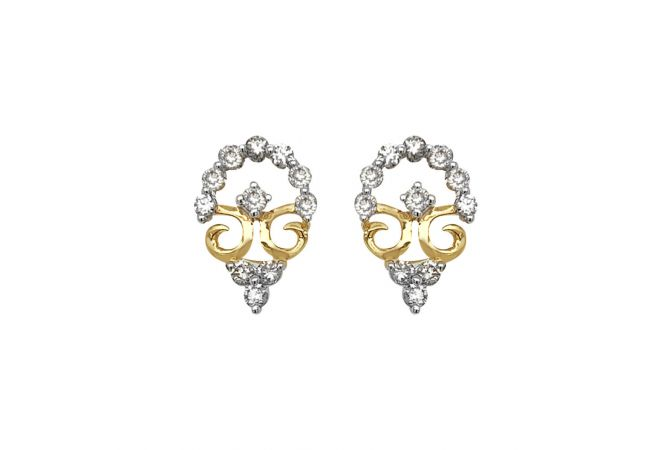 Glittering Contemporary Design Diamond Earring