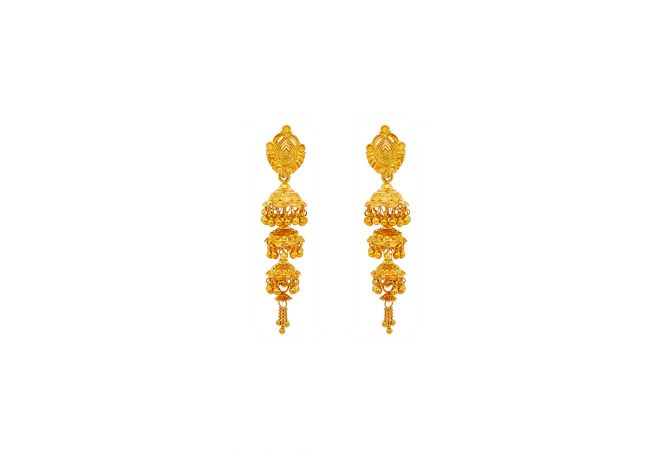Traditional Embossed Textured Gold Jhumki
