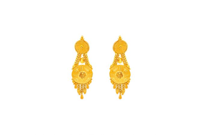 Ceremonial Textured Gold Earrings
