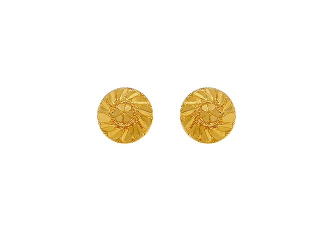 Classic Textured Floral Gold Earrings