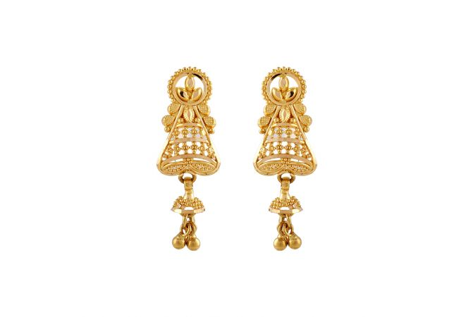 Tradition Design Gold Beads Embossed Earring - TP7993