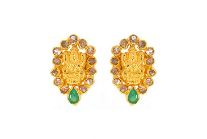 Matte Finish Traditional Temple Design Polki With Colour Stone Studded Gold Earrings-TP931
