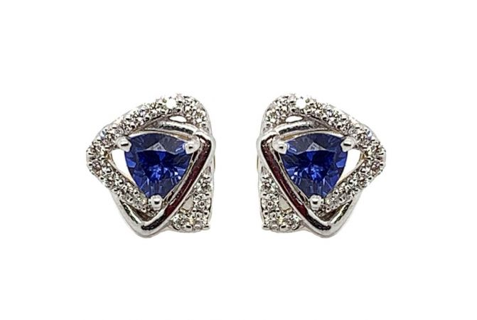 Sparkling Prong Set Trident Design Studded With Synthetic Colour Stone Diamond Earrings