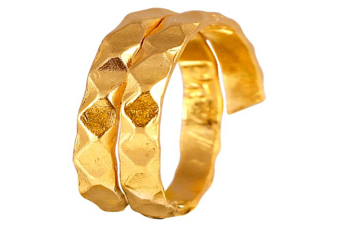 24KT Gold  Round Embossed Wave Spiral Vedhani - VS-04