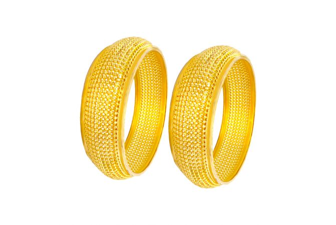 Alluring Bead Cutout Gold Bangles (Set Of Two)