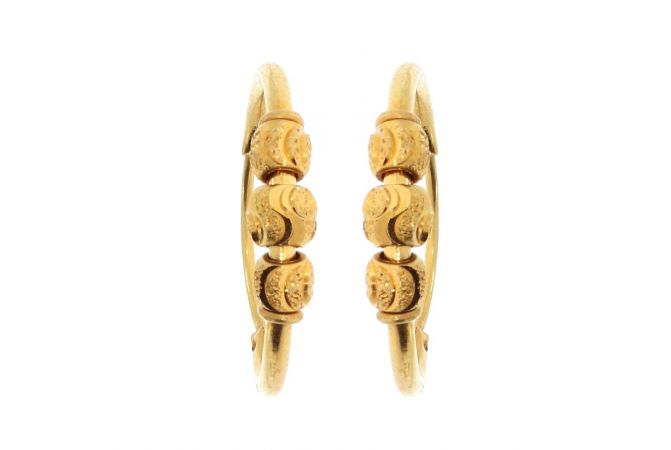 Glossy Finish Bali Design With Designer Beads Gold Earrings-ZKDBL008