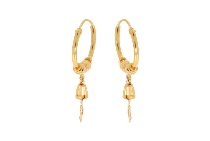 Glossy Finish Bali Design With Designer Beads Gold Earrings-ZKDBL010
