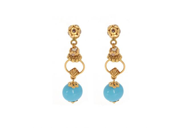 Glossy Finish Dangler Design With Synthetic Turquiose Stone Studded Gold Earrings-ZKDT022