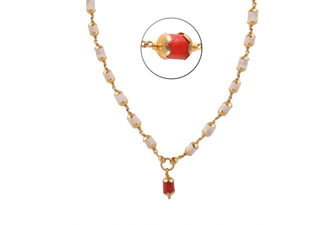 22kt Gold Coral Bead Chain - BBCH49