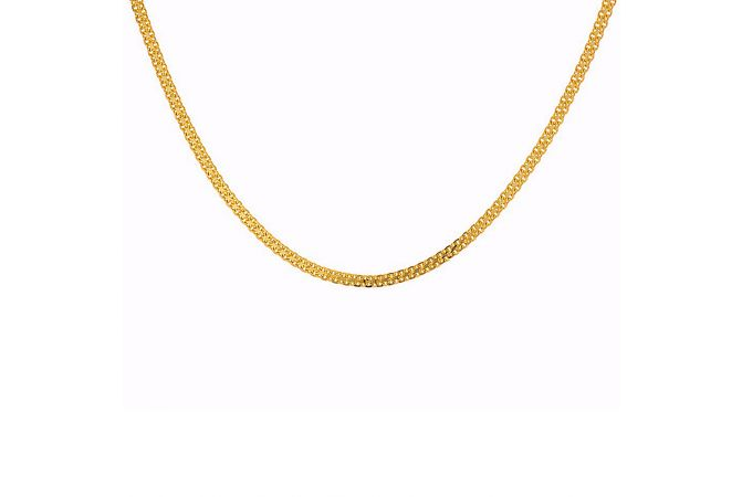 Glossy Finish Two Line Curb Links Gold Chain - C5278