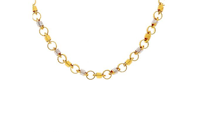 Two Tone Round Links Gold Chain-C859