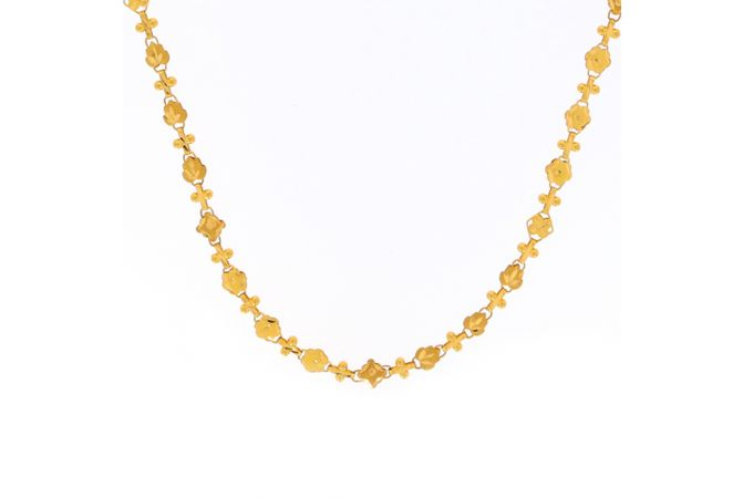 Glossy Finish Floral Linked Design Gold Chain