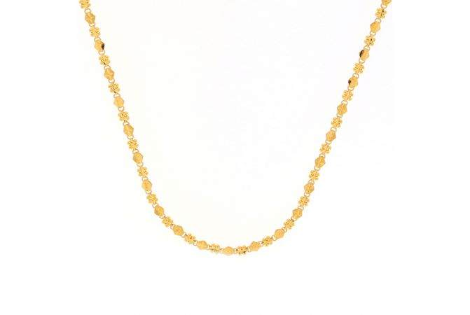 Glossy Finish Diamond Cut Linked Design Gold Chain