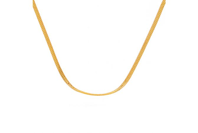 Glossy Finish Flat Linked Desgin Gold Chain