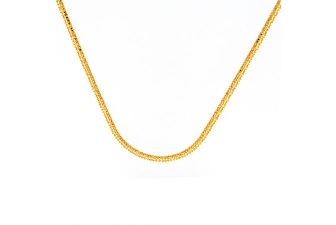 Glossy Finish Bead Ball Design Linked Gold Chain