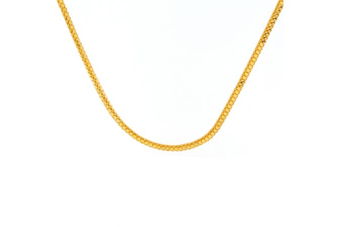 Glossy Finish Heart Design Linked Gold Chain