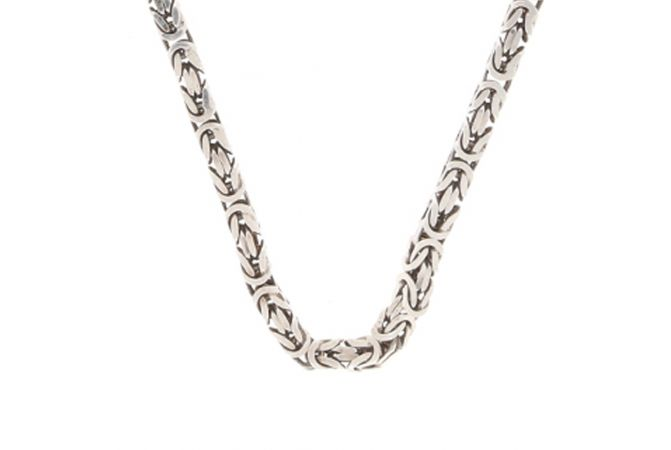 Glossy Oxidized Finish Jumbled Design Silver Chain With Lobster Hook