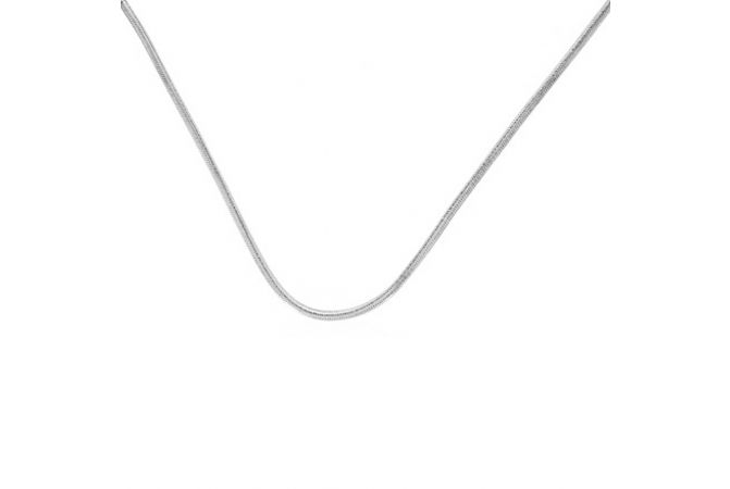 Glossy Finish Snake Design Silver Chain
