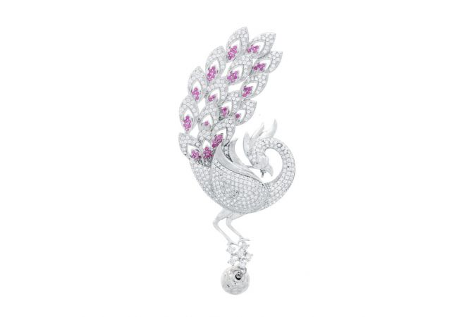 Oxidized Peacock Design Studded With Synthetic CZ Silver Brooch Accessories