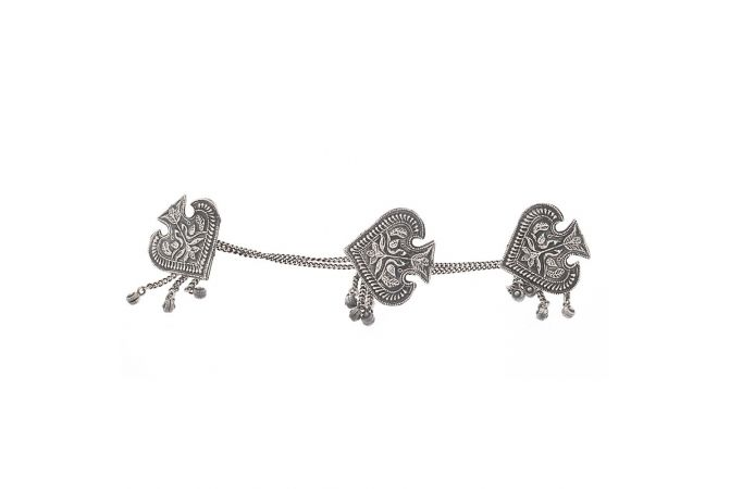 Oxidized Curved Leafy Engraved Design Silver Kurta Button Accessories