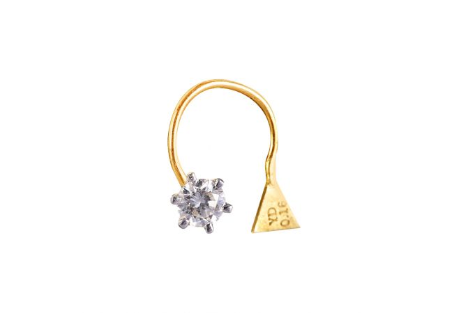 18kt Gold Six Prong Set Single Solo Diamond Wire Nose Pin - DF252