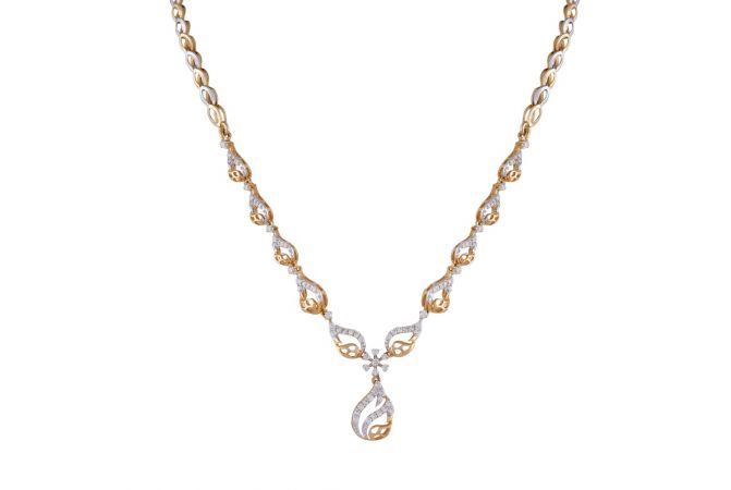 Sparkling Curved Drop Floral Diamond Necklace-DHS-150923