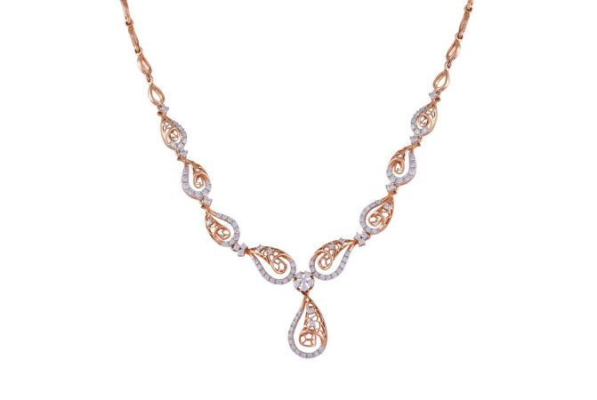 Curved Drop Filigree Sparkling Diamond Necklace-DHS-152414