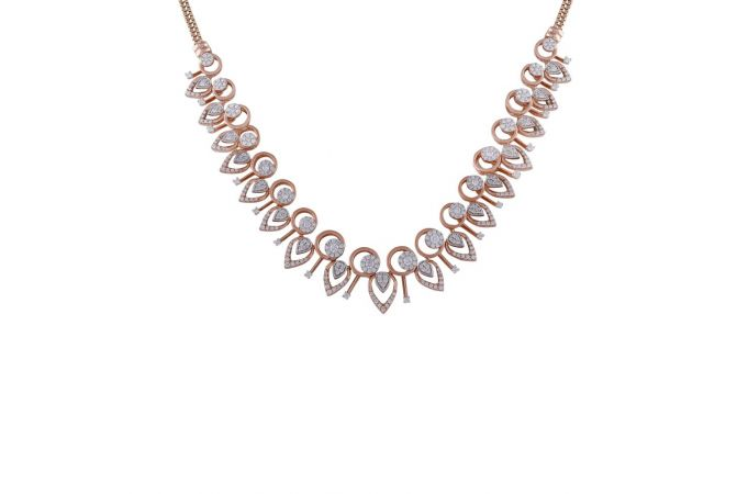 Drop Circle Pressure Pave Set Cluster Diamond Necklace-DHS-211557