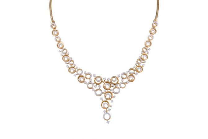 Sparkling Halo Circle Design Cluster Bridal Necklace-DHS-211584