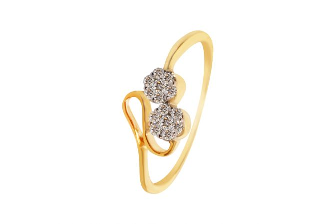 Two Pressure Set Floral Diamond Ring - DR3399