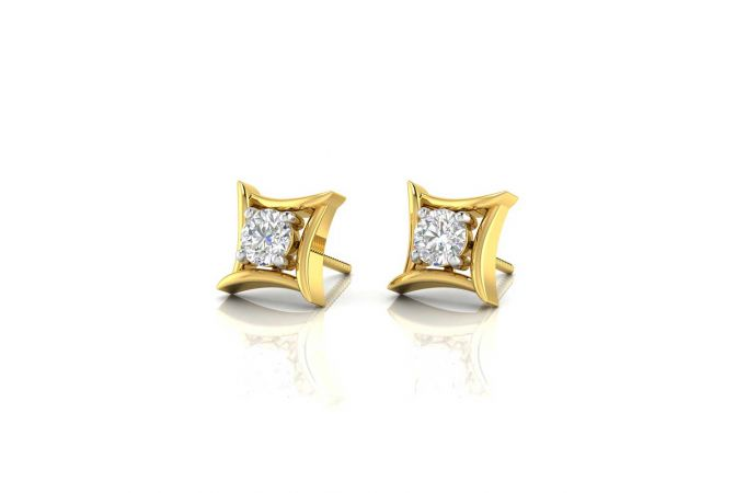 Glossy Trendy Solitaire Stud Earrings