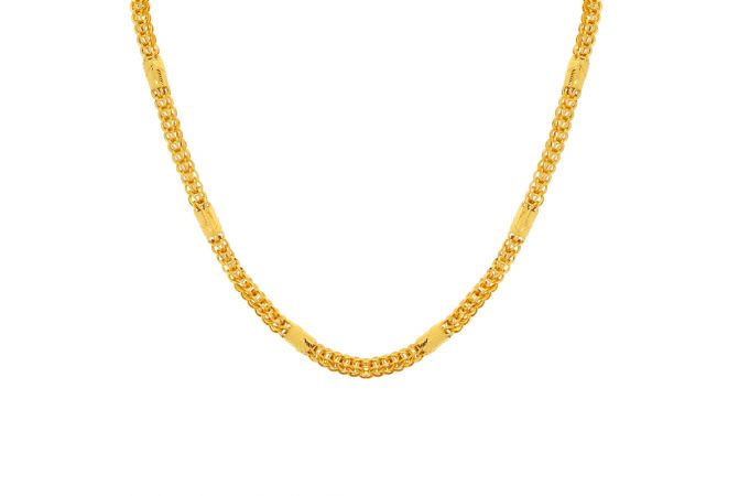 Glossy Finish Wheat Jhumbled Linked Design Indo Italian Gold Chain