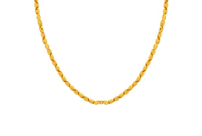 Glossy Finish Figaroo Curb Linked Gold Chain