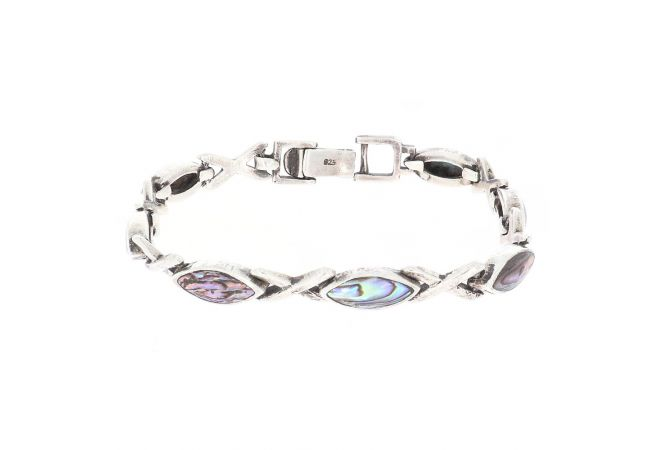 Glossy Finish Link With Studded Synthetic Colour Stone Openable Silver Bracelet