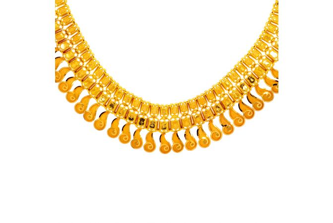 Traditional Textured Gold Necklace
