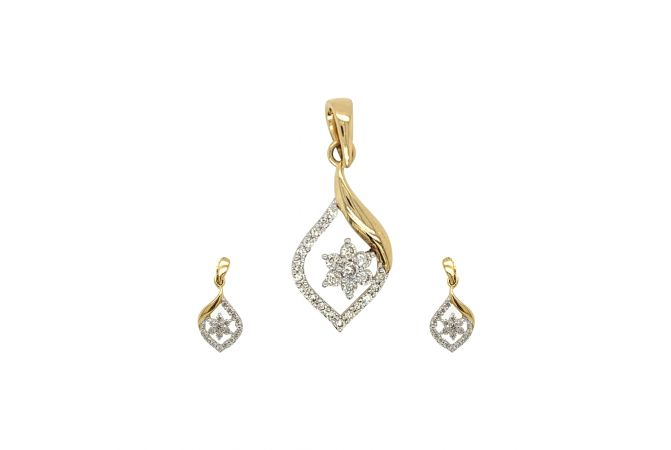 Dazzling Pear Floral Design Diamond Pendant Set
