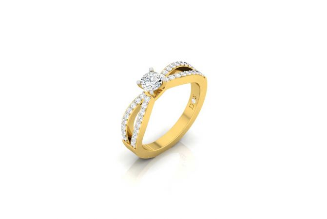 Cluster With Solitaire Sparkling Diamond Ring