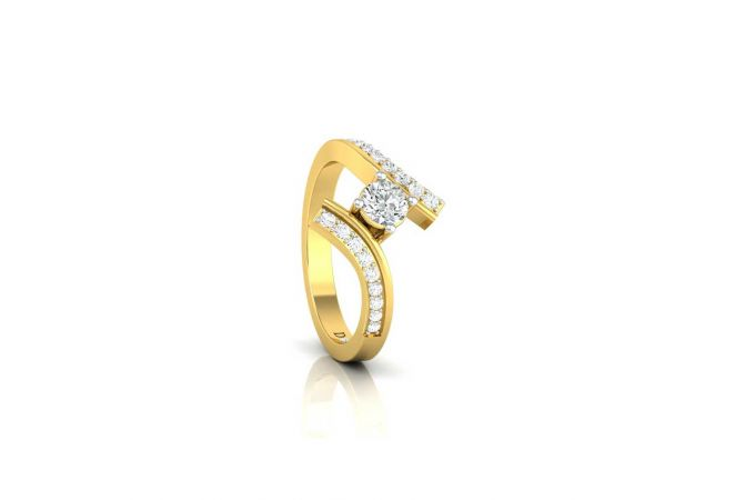Glitter Curved Design Solitaire With Side Diamond Ring