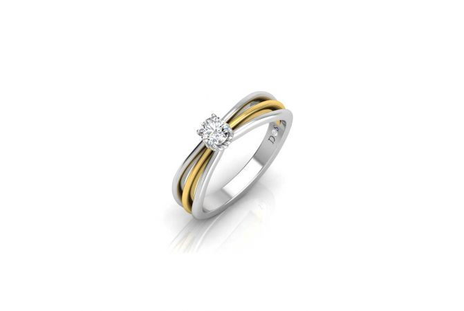 Crown Spiral Design Two Tone Prong Set Solitaire Ring
