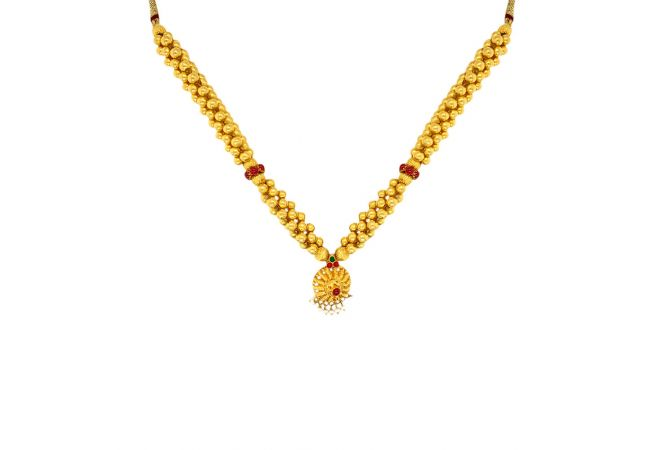 Traditional Hallow Bead Gemstone Gold Thushi